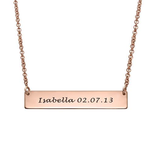 Fingerprint Bar Necklace with Back Engraving in 18K Rose Gold Plating - 1
