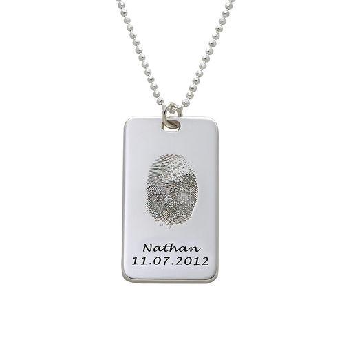 Fingerprint Dog Tag Necklace in Sterling Silver