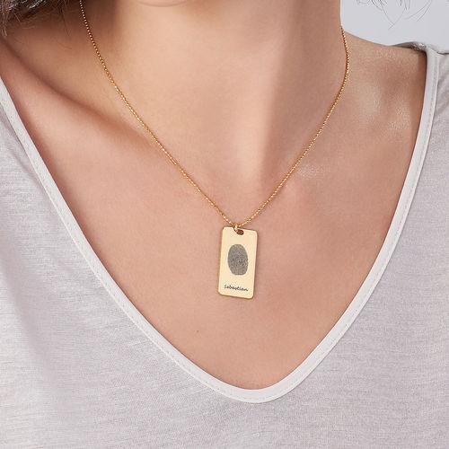 Fingerprint Dog Tag Necklace with 18K Gold plating - 2