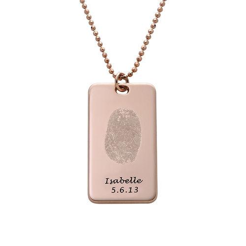 Fingerprint Dog Tag Necklace with 18K Rose Gold plating