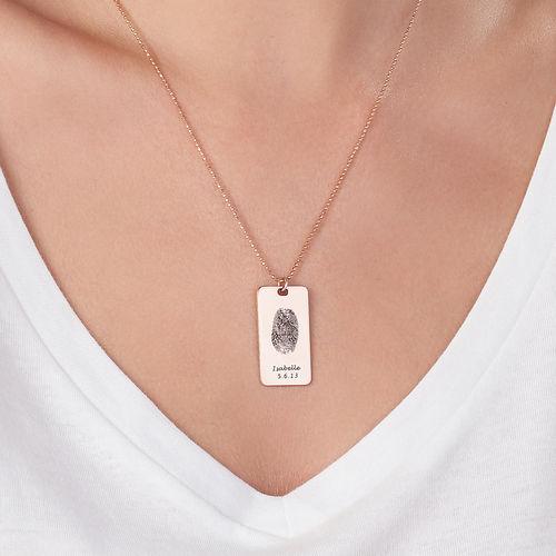 Fingerprint Dog Tag Necklace with 18K Rose Gold plating - 2