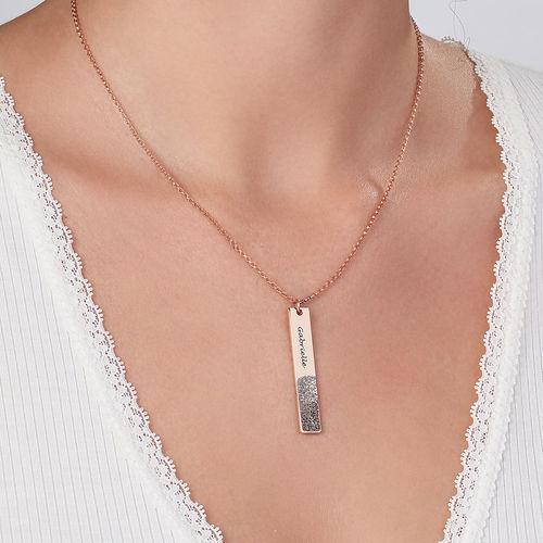Fingerprint Engraved Vertical Bar Necklace with 18K Rose Gold Plating - 2