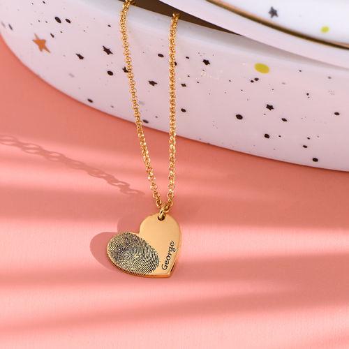 Fingerprint Heart Necklace in 18K Gold Plating - 1