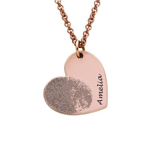 Fingerprint Heart Necklace with 18K Rose Gold Plating