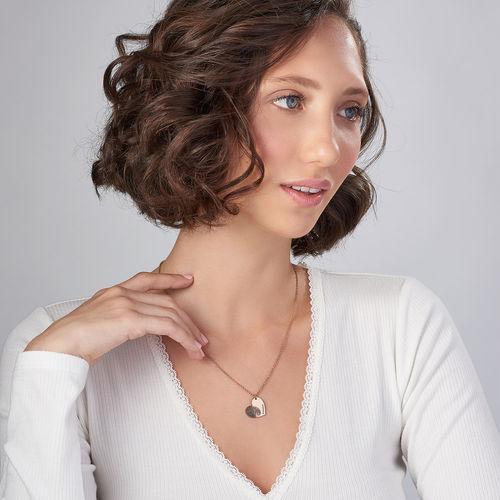 Fingerprint Heart Necklace with 18K Rose Gold Plating - 1