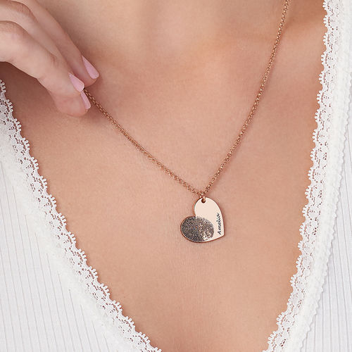 Fingerprint Heart Necklace with 18K Rose Gold Plating - 2