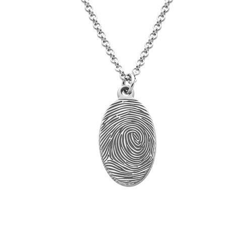 Fingerprint Oval Necklace in Sterling Silver
