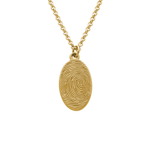 Fingerprint Oval Necklace with 18K Gold plating