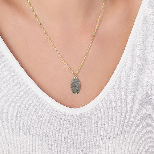 Fingerprint Oval Necklace with 18K Gold plating - 3
