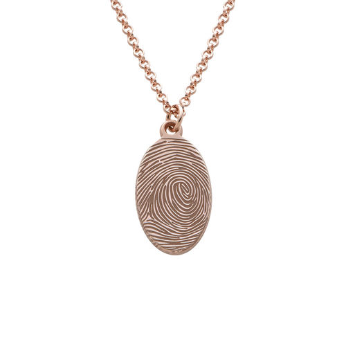 Fingerprint Oval Necklace with 18K Rose Gold plating