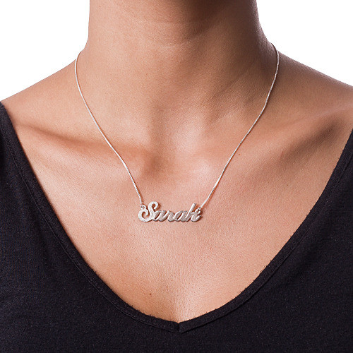 First Letter Sparkling Silver Name Necklace - 1