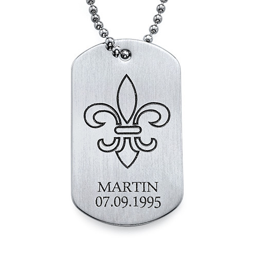 Fleur De Lis Dog Tag Necklace with Engraving - Stainless Steel