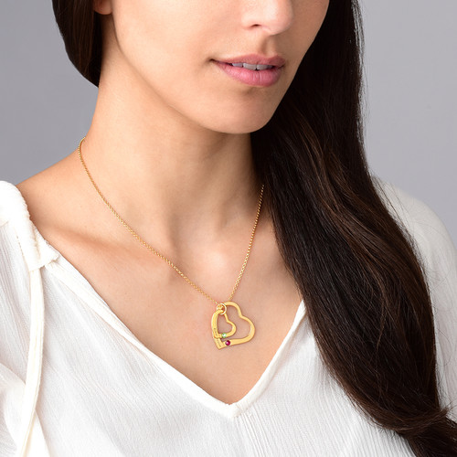 Floating Heart in Heart Necklace with Birthstones - Gold Plated - 2