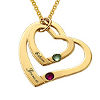 Floating Heart in Heart Necklace with Birthstones - Gold Plated