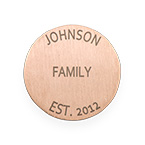 Floating Locket Plate - Rose Gold Plated Disc with Engraving