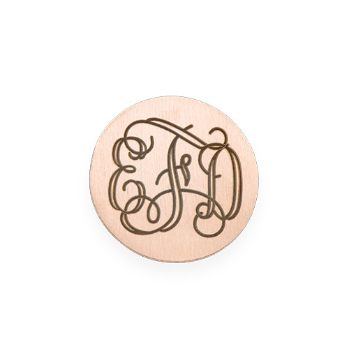 Floating Locket Plate - Rose Gold Plated Disc with Monogram