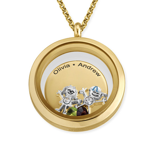 Floating Locket for Mom with Children Charms - Gold Plated