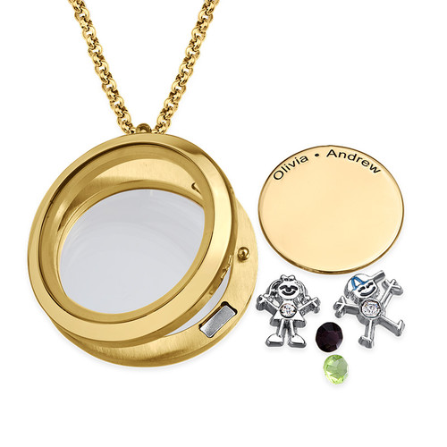 Floating Locket for Mom with Children Charms - Gold Plated - 1