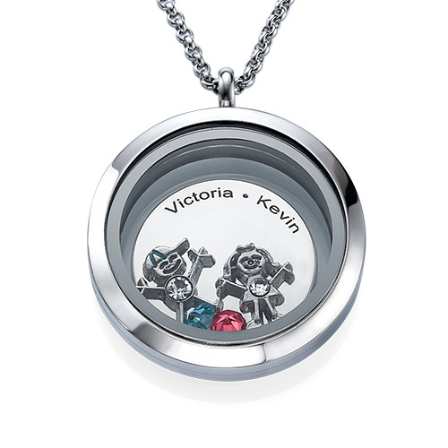 Floating Locket For Mom With Children Charms My Name