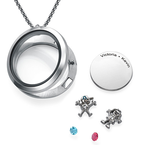 Floating Locket for Mom with Children Charms - 1