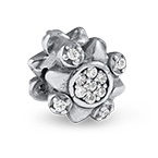 Flower Bead with Cubic Zirconia