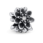 Flower Silver Bead with Cubic Zirconia