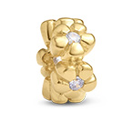 Flowers Silver Gold Plated Bead with Cubic Zirconia