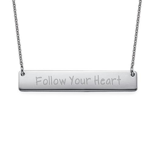 Follow Your Heart Inspirational Bar Necklace