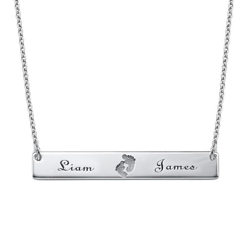 Footprint Bar Necklace with Engraving - 1