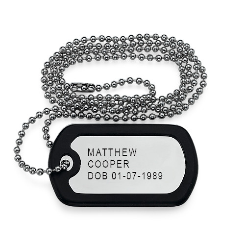 For Him and Her: Dog Tag Necklace + Name Necklace - 2