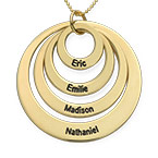 Four Open Circles Necklace with Engraving in 10K Yellow Gold