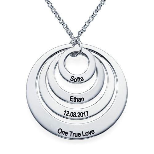 Four Open Circles Necklace with Engraving - 2