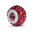 Garnet Birthstone Bead with Cubic Zirconia