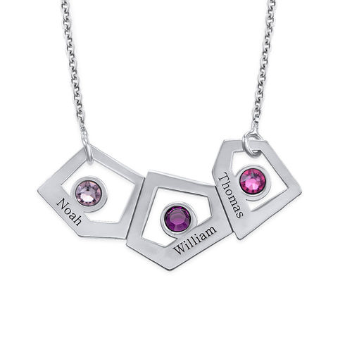Geometric Mother Necklace with Birthstones - 1