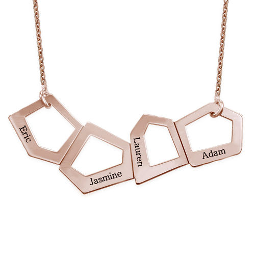 Geometric Necklace for Moms with Engraving in Rose Gold Plating