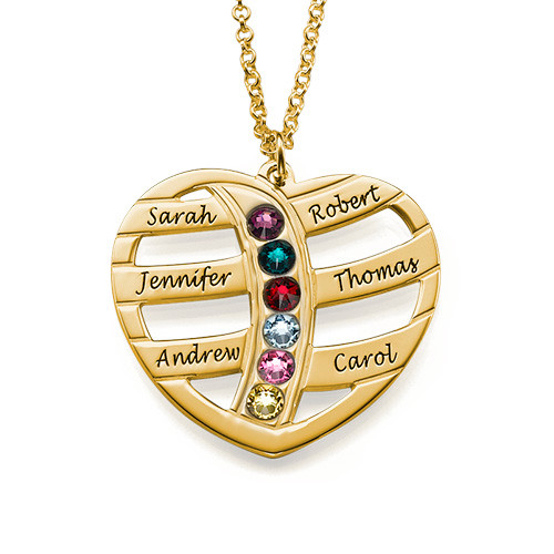 Gift for Mom - Engraved Gold Heart Necklace with Birthstones