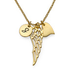 Gold Plated Angel Wing Necklace with Initial Pendant