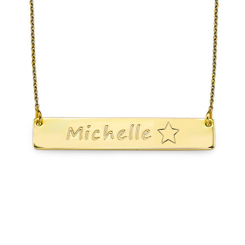 Gold Plated Bar Necklace with Icons - 1