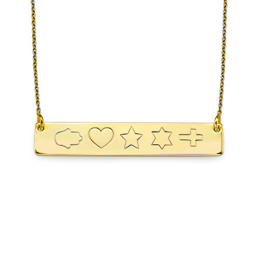 Gold Plated Bar Necklace with Icons - 2