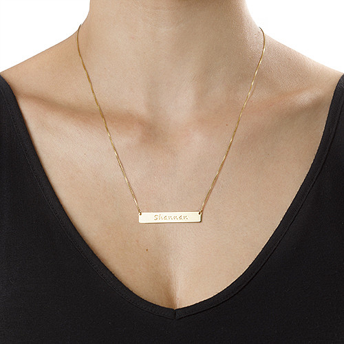 Gold Plated Personalized Bar Necklace - 1