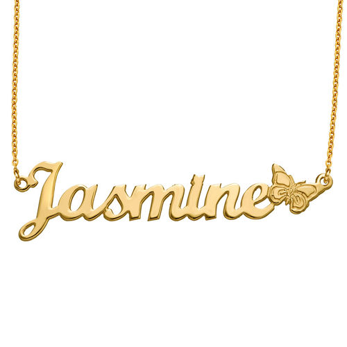 Gold Plated Butterfly Name Necklace