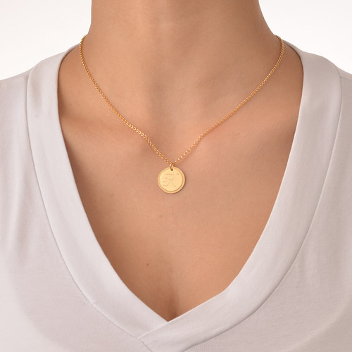 Gold plated circle initial necklace mynamenecklace gold plated circle initial necklace gold plated circle initial necklace 1 aloadofball Image collections