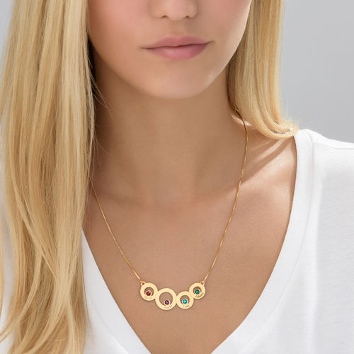 Gold Plated Circles Necklace with Engraving and Birthstones - 1