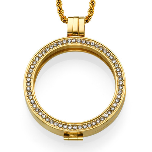 Gold Plated Coin Locket with Cubic Zirconia