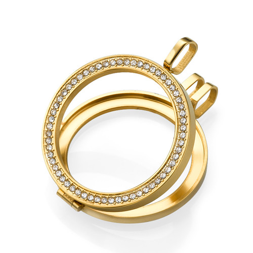 Gold Plated Coin Locket with Cubic Zirconia - 1