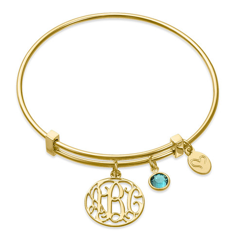 Gold Plated Cut Out Monogram Bangle with Charms