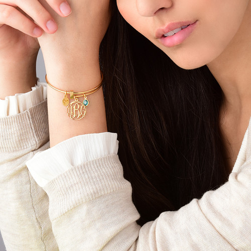 Gold Plated Cut Out Monogram Bangle with Charms - 2