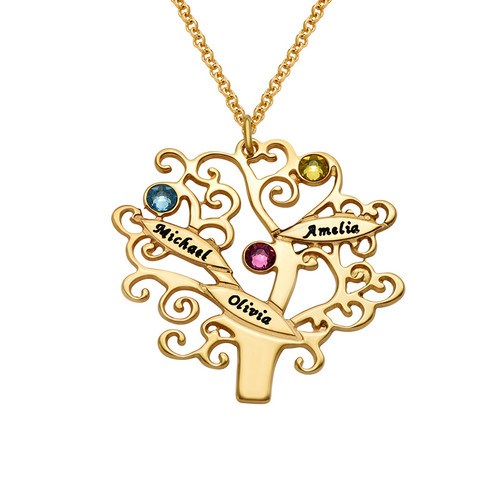 Gold Plated Family Tree Necklace with Birthstones - 1