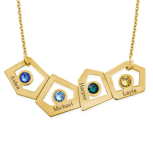 Gold Plated Geometric Mother's Necklace with Birthstones - 1