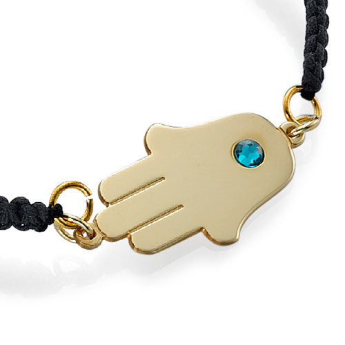 Gold Plated Hamsa Bracelet with Birthstone - 1
